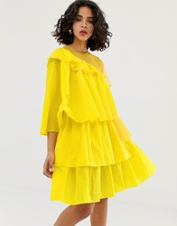 House Of Holland Rip Stop Extreme Frill Dress Yellow