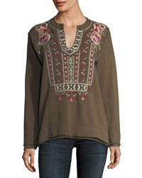 Johnny Was Issoria Embroidered French Terry Sweatshirt Petite Army