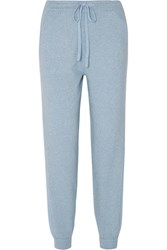 Allude Metallic Wool And Cashmere Blend Track Pants Light Blue