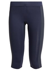 Aeance Compression Panel Cropped Performance Leggings Navy