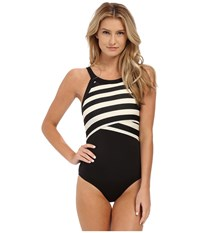 Dkny Iconic Stripe High Neck Maillot W Removable Soft Cups Black Women's Swimsuits One Piece