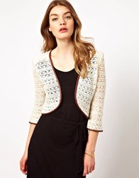 Dress Gallery Crochet Jacket With Leather Trim White
