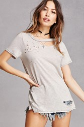 Forever 21 Distressed Ripped Neck Tee