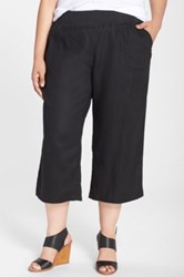Allen Allen Crop Linen Pants Plus Size Black