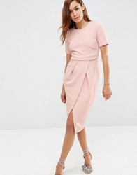 Asos Double Layer Textured Wiggle Dress Nude Pink