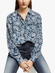 And Or Batik Leaf Print Blouse Navy White