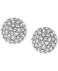 Vince Camuto Silver Tone Pave Ball And Metallic Pyramid Reversible Front And Back Earrings