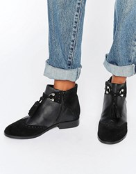 Asos Alya Leather Tassel Ankle Boots Black Leather Suede