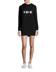 Design Lab Lord And Taylor Hooded Sweatshirt Dress Black