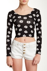 American Apparel Printed Long Sleeve Cropped Tee White