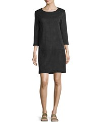 The Row Rina Stretch Suede 3 4 Sleeve Shift Dress Black