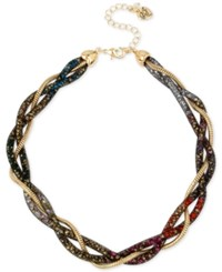 Betsey Johnson Gold Tone Crystal Mesh Filled Twisted Collar Necklace Multi