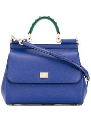 Dolce And Gabbana Sicily Tote Women Calf Leather Plastic Metal One Size Blue