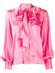 Msgm Pussy Bow Ruffled Shirt Pink