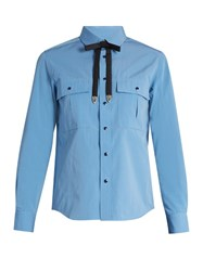 Toga Detachable Bow Taffeta Shirt Light Blue
