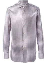 Kiton Checked Print Shirt Blue