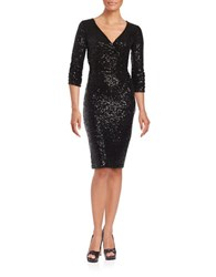 Nue By Shani Three Quarter Sleeve Sequined Sheath Dress Black
