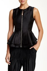 Gracia Sleeveless Front Zip Up Peplum Blouse Black