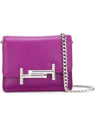 Tod's Logo Plaque Clutch Pink Purple