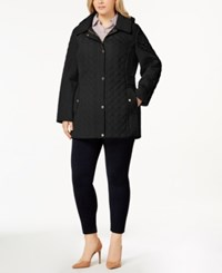 Jones New York Plus Size Hooded Quilted Coat Black