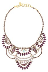Elizabeth Cole Stephanie Gold Plated Amethyst And Crystal Necklace