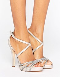 Faith Leslie Embellished Strap Heeled Sandals Nude Pink
