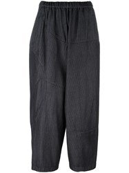 Comme Des Garcons Pinstriped Cropped Trousers Black
