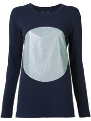 Norma Kamali Reflective Circle T Shirt Blue