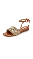 Michael Kors Collection Hadden Beaded Flat Sandals Natural