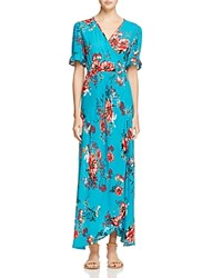 Band Of Gypsies Vintage Floral Wrap Maxi Dress Teal Pink
