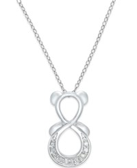 Macy's Diamond Infinity Bear Pendant Necklace 1 10 Ct. T.W. In Sterling Silver