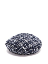 Maison Michel Flore Cotton Blend Tweed Beret Navy