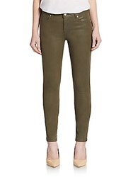 Joe's Jeans Coated Mid Rise Skinny Jeans Faded Olive