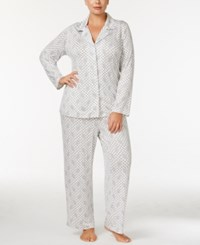 Alfani Plus Size Printed Knit Pajama Set Only At Macy's Grey Medallion