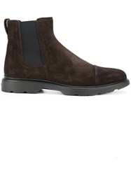 Hogan Chelsea Boots Leather Suede Rubber Brown