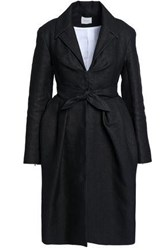 Delpozo Tie Front Pleated Woven Coat Charcoal