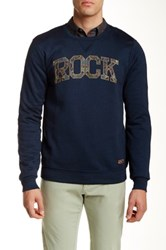 Scotch And Soda Graphic Crew Neck Sweater Blue