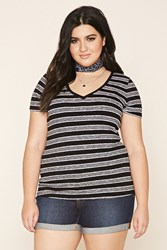 Forever 21 Plus Size Striped V Neck Top