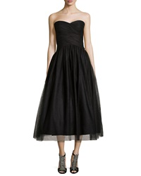Ml Monique Lhuillier Strapless Tulle Tea Length Cocktail Dress Black