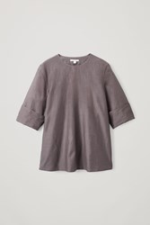 Cos Overlap Back Cotton Silk Top Purple
