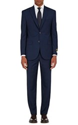 Barneys New York Men's Checked Two Button Suit Navy