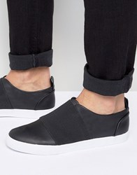 Asos Slip On Trainers In Black With Elastic Strap Black