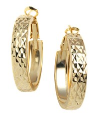Lord And Taylor 18 Kt Gold Plated Engraved Wide Hoop Earrings Vermeil