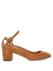 Aquazzura Sweet Thing Suede Block Heel Pumps Tan