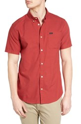 Rvca Men's 'That'll Do' Slim Fit Short Sleeve Oxford Shirt Poppy Red