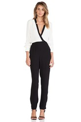 Twelfth St. By Cynthia Vincent Notched Collar Jumpsuit Black And White