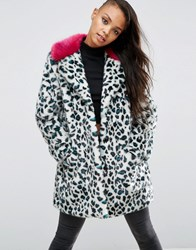 Asos Faux Fur Coat In Leopard Print With Bright Collar Leopard Multi