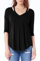Michael Stars Women's Shoulder Cutout Jersey Top Black