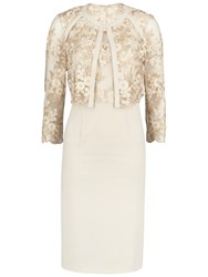 Gina Bacconi Embroidered Bodice Dress And Jacket Gold