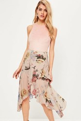 Missguided Nude Floral Printed Chiffon Frill Midi Skirt